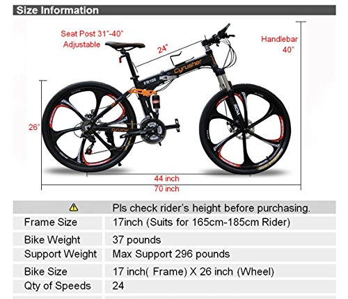 Cyrusher FR100 Folding Mountain Bike Full Suspension 24 Speeds ...