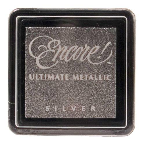 Tsukineko Small Size Encore Ultimate Metallic Pigment Inkpad, Silver