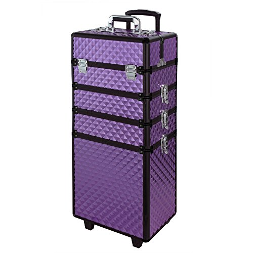WarmieHomy 4 in 1 Aluminum Professional Makeup Trolley Vanity Case for Artists Beautician Extra Large Travel Jewellery Box Train Case w/ 2 Wheels (Diamond Purple)
