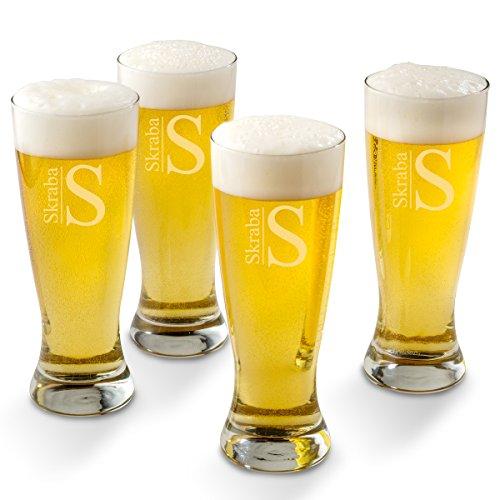 - Personalized Pilsner Beer Glass Set of 4 Glasses - Modern Monogram