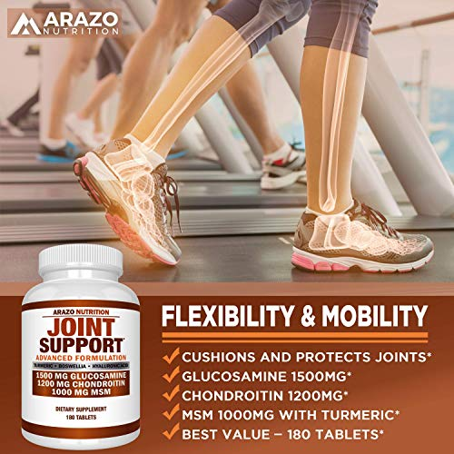 Glucosamine Chondroitin Turmeric MSM Boswellia - Joint Support Supplement for Relief 180 Tablets - Arazo Nutrition by Arazo Nutrition (Image #3)