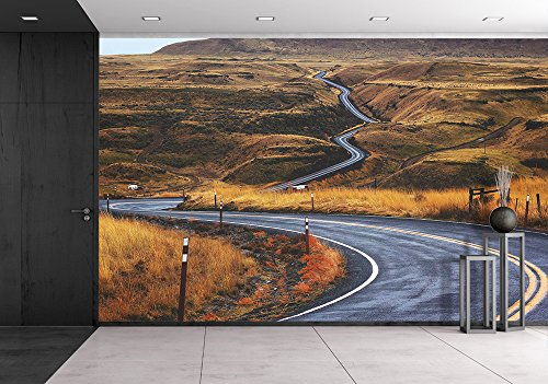 wall26 - Roads in Mountain Areas - Removable Wall Mural | Self-adhesive Large Wallpaper - 100x144 inches (Road Mural)