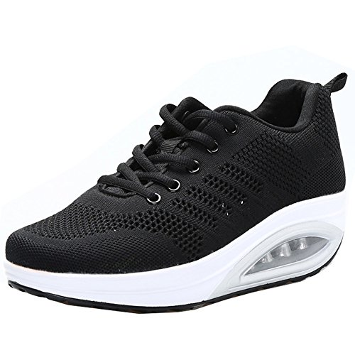 JARLIF Women's Comfortable Platform Walking Sneakers Lightweight Casual Tennis Air Fitness Shoes All Black US8