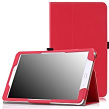 MoKo Tab E 9.6 Case - Slim Folding Cover for Samsung Galaxy Tab E / Tab E Nook 9.6 Inch 2015 Tablet (Fit Both WiFi and Verizon 4G LTE Version), RED