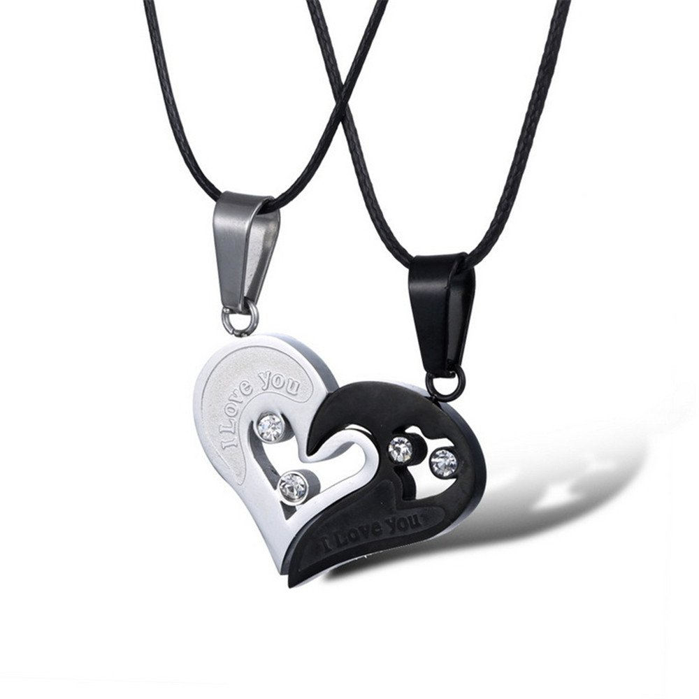 WEIHONG Fashion Stainless Steel Mens Women's ''I Love You'' CZ Crystal Pendant Couple Necklace Matching Chain Jewelry By (Women Style)