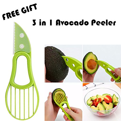Salad Cutter Bowl + FREE 3 in 1 Avocado Peeler Tool  Fruit & Vegetable Quick Chopper Set, Veggie Slicer   Can Be used as Strainer and Cutting Board   Dishwasher Safe, BPA Free, Food Grade Material by toshi's kitchen (Image #1)