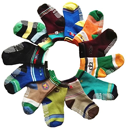 Baby Non-skid Socks Toddler Boys Ankle Socks for 8-36 Months by Toptim (12 Pairs)