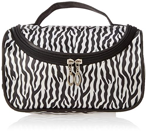 MUNISO Black zebra toiletry bag makeup bag,Portable zebra toiletry bag print bag,Waterproof zebra toiletry bag for women -