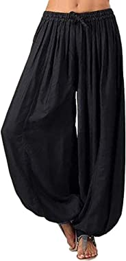 OTTATAT Stretch Palazzo Pants for Women, Back Beauty Straight Leg Solid Color Loose High Waist Wide Leg Casual Trouser
