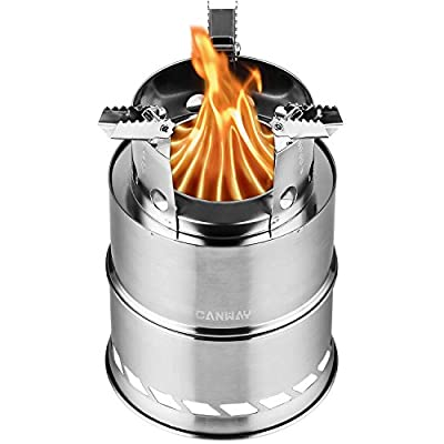 Canway Camping Stove, Wood Stove/Backpacking Stove,Portable Stainless Steel Wood Burning Stove Nylon Carry Bag Outdoor Backpacking Hiking Traveling Picnic BBQ by Canway