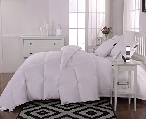 unite down Luxury 30% Goose Down Comforter/Quilt/Duvet All Seasons, 100% Organic Cotton Cover (Twin/Twin XL), White
