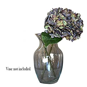 Artificial Silk Hydrangea Spray Pick Big Head Faux Bouquet - Flower Bright Petals Bush on Short Stem in Vibrant Colors, 13 Inches Blooming Florals for Home & Wedding Decor Embellishing (Dark Green) - 6
