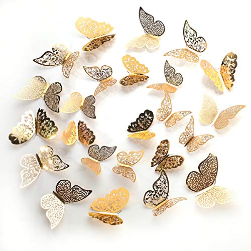 36 Golden Butterfly Adornment Hollow Out 3D Butterfly Stickers Shiny Wall Post Children DIY Home Decoration Art Decorative Wall Mural Kindergarten Bedroom Door Bathroom and Party Decorations