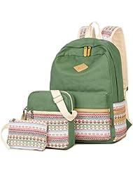 KARRESLY Unisex Lightweight Canvas Laptop Bag Shoulder Daypack School Backpack Handbag Bookbags College Bags