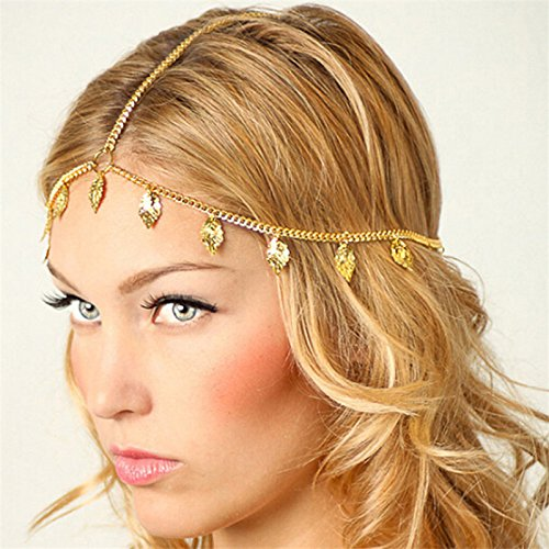 Beach Multi Layer Metal Gold Plated Head Chain Hair Jewelry Tassel Pearl Leaves Bindi hair accesories Boho Headband -