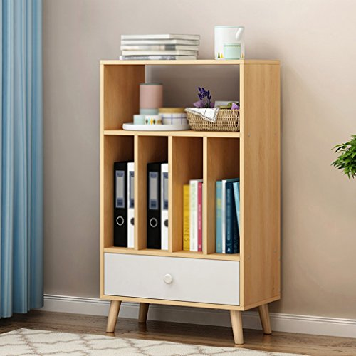 Bookshelf Northern Europe Vertical Floorstanding Bookcase File Cabinets Storage Rack Modern Shelves (Color : Maple)