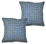 2 Pcs Set Embroidery Indian Sari Throw Pillow Toss Cotton Cushion Cover Designer Traditional Mirror Work Throw Pillow Cover 16 x 16 Inch (multi)