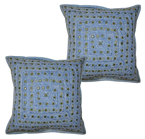2 Pcs Set Embroidery Indian Sari Throw Pillow Toss Cotton Cushion Cover Designer Traditional Mirror Work Throw Pillow Cover 16 x 16 Inch (multi) (Cushion Covers Toss Pillow Sari)