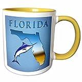 3dRose Boehm Graphics Florida - State of Florida with marlin - 11oz Two-Tone Yellow Mug (mug_58820_8)