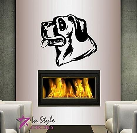 Wall Vinyl Decal Home Decor Art Sticker German Shepherd Panting Dog Head Face Pet Animal Kids Room Pet Shop Removable Mural Design 9