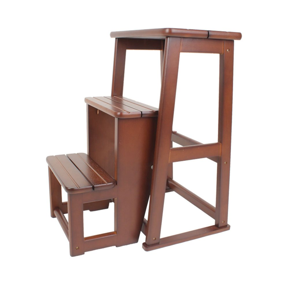 All solid wood three staircase stool / staircase stool / dual-use folding ladder / home wood ladder / indoor two / three ladder ( Color : Brown , Size : 405160.5CM )