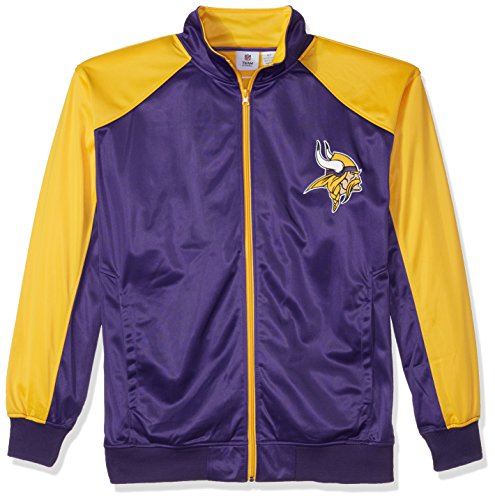 - NFL Minnesota Vikings Men FULL ZIP TRICOT TRACK JACK, PURPLE/GOLD, 4X