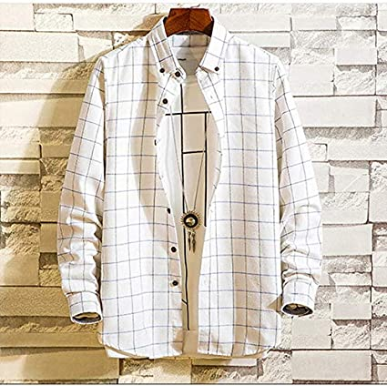 IYFBXl Mens Basic Shirt Check Patchwork