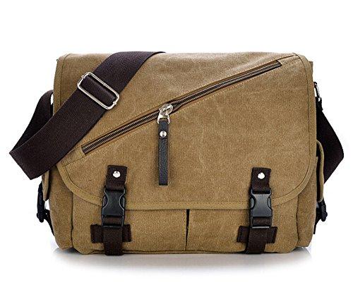 MOLLYGAN Men's Canvas Messenger Crossbody Shoulder Bag Khaki by MOLLYGAN