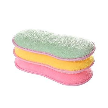 3 esponjas de limpieza antibacterianas para fregar platos de cocina de doble cara, ideal para sartenes antiadherentes, olores, utensilios de cocina: ...