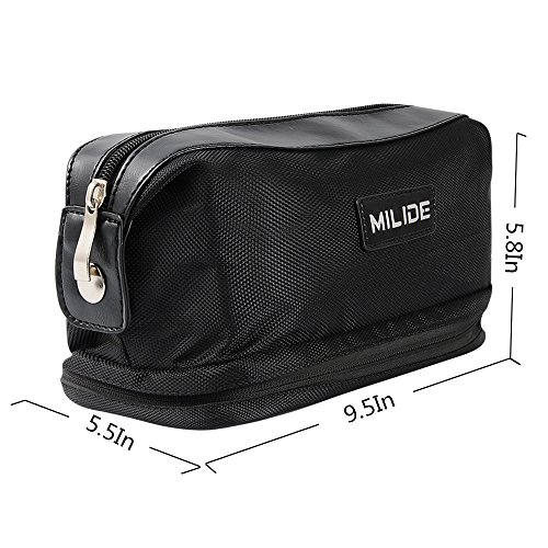 Deluxe Black Canvas Men & Women Toiletry Bag – Sturdy & Durable Travel Organizer With Strong Zipper Makeup Bag & Multiple Inside Pockets–Foldable & Hanging Traveling Shaving Dopp Kit by MILIDE (Image #2)
