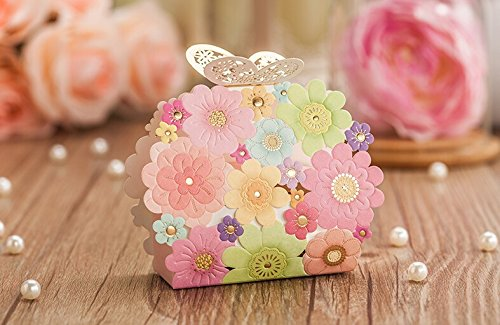 Worldoor 50pcs Wedding Favors And Gifts Box Flower Butterfly Laser Elegant Luxury Decoration Party Event Supplies Paper Candy Bag For Guests