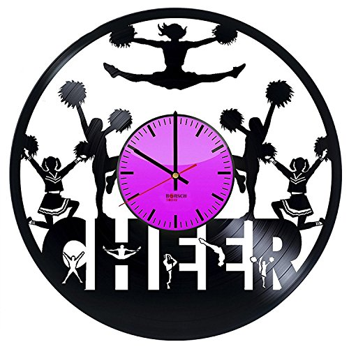 Modern Oversized HANDMADE Vinyl Record Wall Clock- Get unique bedroom or living room wall decor - Gift ideas for teens – Cheerleader Ornament Unique Art Design