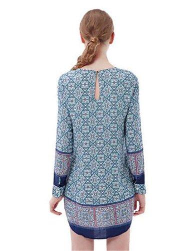 PU&PU Robe Aux femmes Ample Simple,Imprimé Col Arrondi Au dessus du genou Polyester , blue-l , blue-l