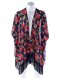Soul Young Women\'s Floral Aztec Leopard Light Chiffon Beachwear Cover-ups Kimono Cardigan Outfit