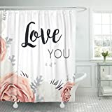 Dusty Pink Shower Curtain TOMPOP Shower Curtain Floral Pink Peach Garden Rose White Peony Flower Dusty Waterproof Polyester Fabric 60 x 72 Inches Set with Hooks