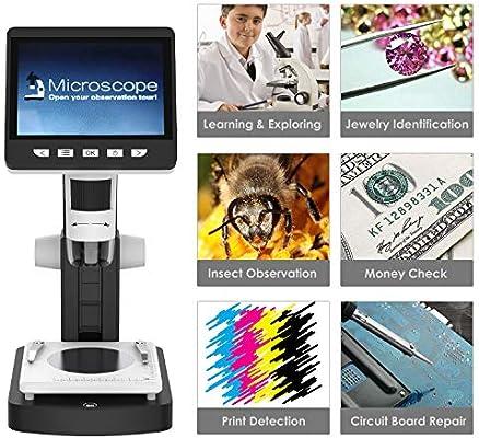 Blanco y Negro MoKo USB LCD Microscopio Digital con 2M HD Sensor de Imagen,50x-1000x Ampliaci/ón Soporte para Windows y Mac PC 4.3 Pulgadas TFT Pantalla,Bater/ía Recargable
