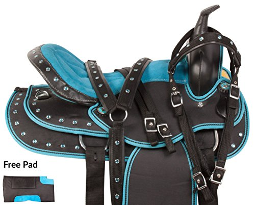 15 16 17 BLUE CRYSTAL LIGHT WEIGHT EXTRA WIDE WESTERN PLEASURE CORDURA TRAIL SYNTHETIC QUARTER HORSE SADDLE TACK BRIDLE BREAST COLLAR REINS (16)