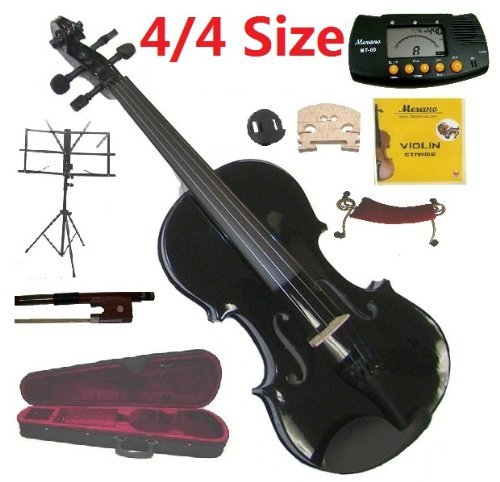 Merano 4/4 Size Full Black Student Violin with Case and Bow+Extra Set of String, Extra Bridge, Shoulder Rest, Rosin, Metro Tuner, Music Stand, Mute by Merano