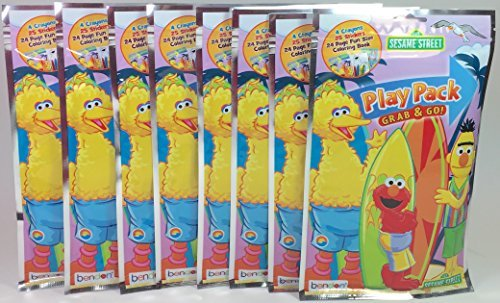Sesame Street Bendon BashBox Play Pack Grab & Go Children's Coloring & Activity Party Favor Bundle (8 -