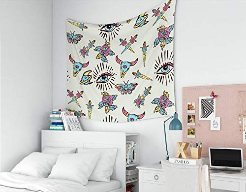 Capsceoll Happy Father's Tapestry, Large 80x60 Inches Size of Tapestries by Color Tattoo Pattern Skull Bull Rose Knife Butterfly Moon Sacred Geometry Tattoos Dorm Décor Tapestry for Living Home