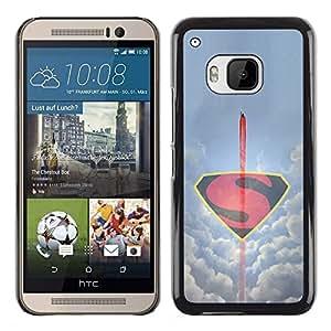 CASEMAX Slim Hard Case Cover Armor Shell FOR HTC One M9- MINIMALIST FLYING S SUPERHERO