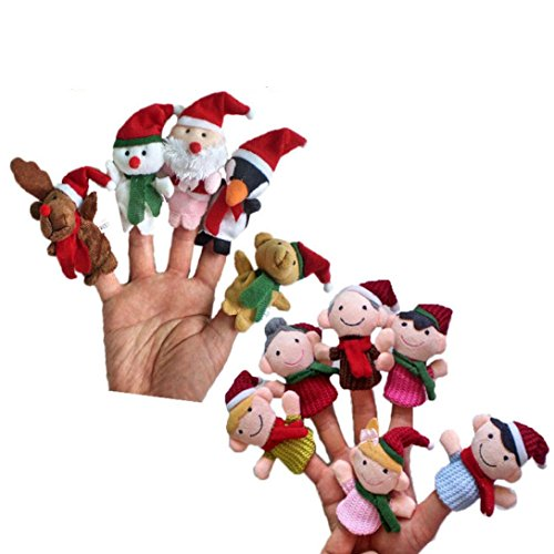 iLH Novelty Finger Puppets,ZYooh 11PCS Christmas Santa Claus and Friends Finger Puppets Toy for Kids Children,Playtime, Schools,Sleep Shows
