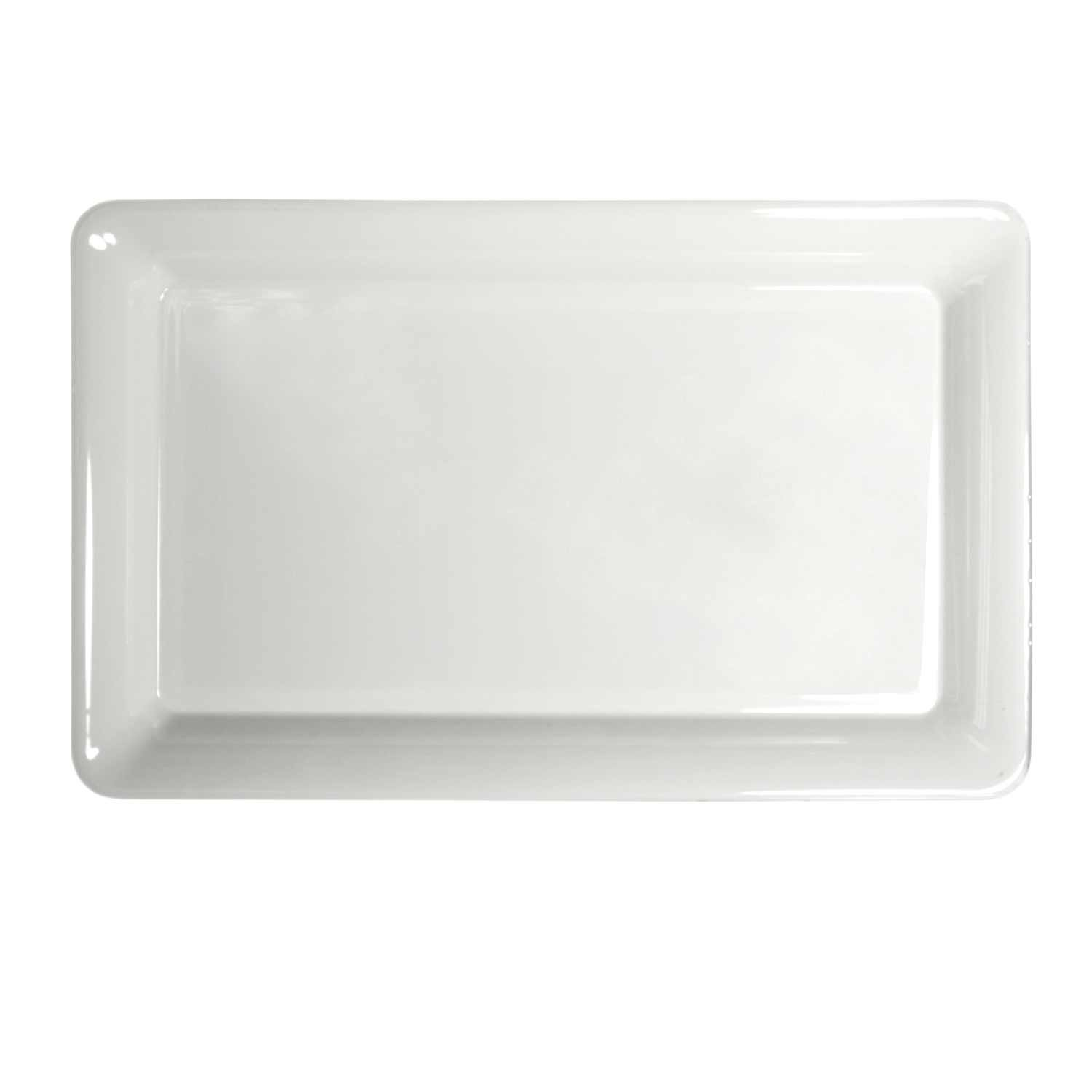 Party Essentials Heavy Duty Plastic Rectangular Tray, 12'' Length x 18'' Width, White (Case of 6)