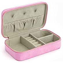 ROYCE Travel Jewelry Storage Case in Pink Leather in Support of Breast Cancer Research & Support - Pink