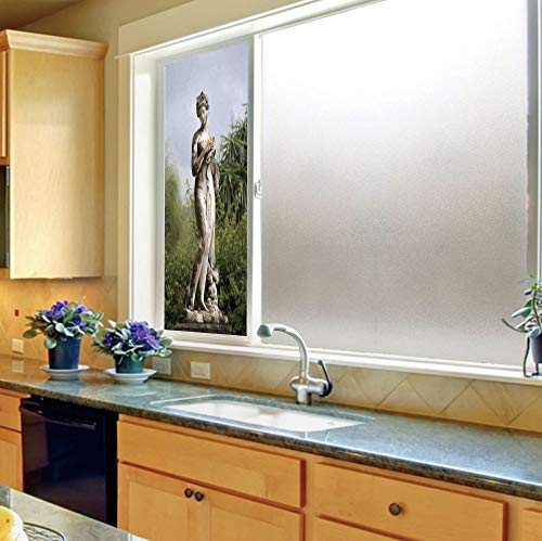 (YOLIYANA Privacy Frosted Decorative Vinyl Decal Window Film,Sculptures Decor,for Bathroom, Kitchen, Home, Easy to Install,Sculptured Figure Among Greenery on The Grounds of,24''x70'')