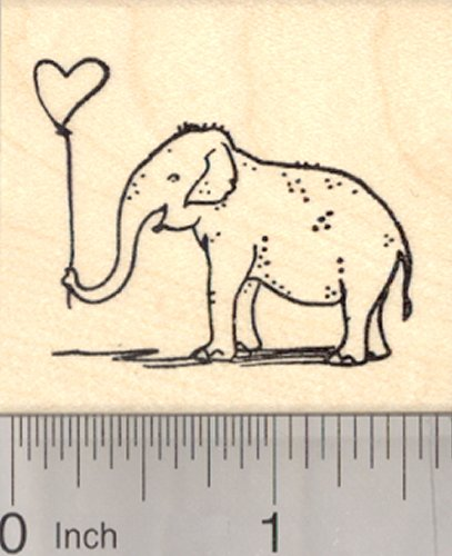 (Valentine's Day Elephant Rubber Stamp, with Heart Balloon)