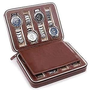 Watch Travel Case Storage Organizer Box,Portable 8 Slot Leather Watch Zippered Storage Organizer Case-Brown