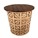 Outdoor Metal Drum Accent Table Eangee Home Designs Creme Flower Metal Drum Outdoor Indoor Table