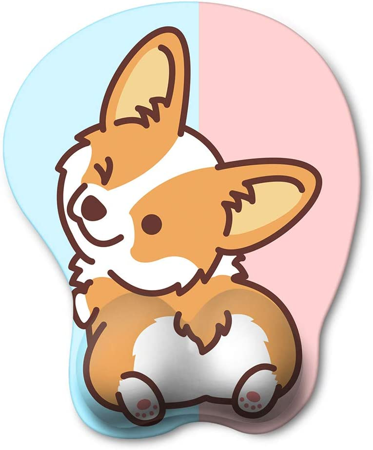 HAOCOO Ergonomic Mouse Pad with Wrist Support Non-Slip Backing Gel Mouse Pad Wrist Rest, Easy-Typing and Pain Relief for Gaming Office Computer Laptop(Blue&Pink Cute Corgi)