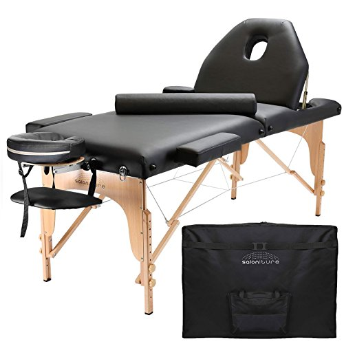 Saloniture Professional Portable Massage Table with Backrest – Black